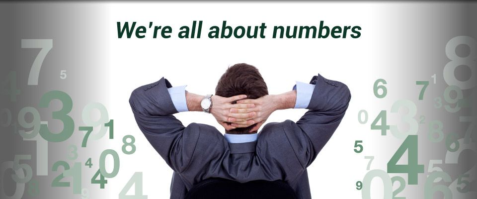 We're all about numbers | business man with hands behind head